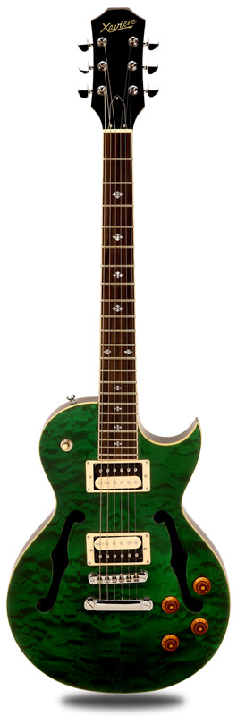 Xv semi hollow carved maple quilt top transparent green