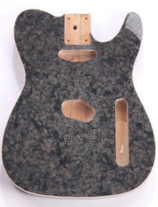 Mother of Pearl Tele Body Charcoal Celluloid, Cream Binding, Single Coil Routed
