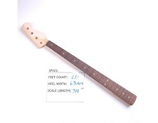 "Satin Finished, Maple Bass ""Fender Style"" Neck with Rosewood Fingerboard - No Frets"