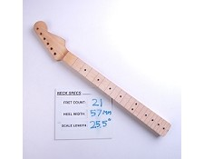 "6 in line, Unfinished, Maple ""Stratocaster Style"" Neck with Maple Fingerboard - No Frets"