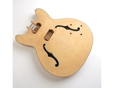 "Unfinished, Double Cutway, Semi-Hollow Body, Maple, ""Hofner Style Body"" , F Holes, Cream Double Bound"