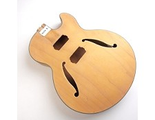 "Unfinished, Semi-Hollow Body, Maple, ""Hofner Style Body"" , F Holes, Black Double Bound"