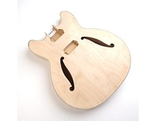 "Unfinished, Semi-Hollow Body, Maple, ""Hofner Style Body"" , F Holes, Cream Double Bound"