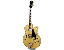 Xaviere XV-975 Big Body Jazz Guitar Gold Foil Pickups Clear Gloss Flame