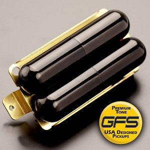 KP - GFS Pro-Tube Humbucker - Cool Chimey Tone, GLOSS BLACK -Kwikplug™ Ready