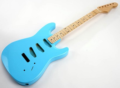 SPECIAL PURCHASE! Daphne BlueStrat Style GLUED-IN Setneck, 3 single coils TOP MOUNT, Maple F/B