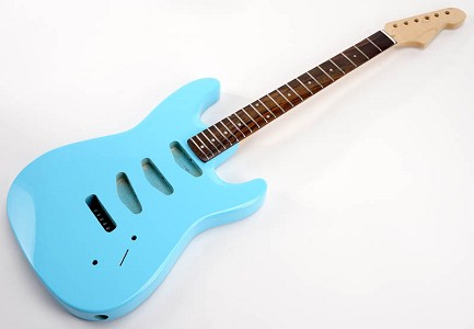 SPECIAL PURCHASE! Daphne BlueStrat Style GLUED-IN Setneck, 3 single coils TOP MOUNT, Rosewood F/B