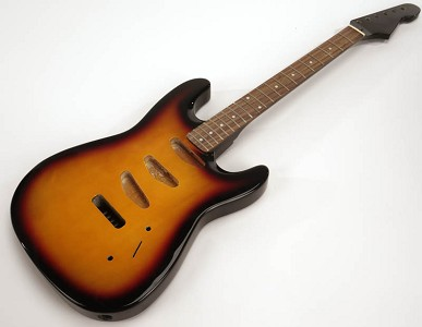 SPECIAL PURCHASE! Sunburst Strat Style GLUED-IN Setneck, 3 single coils TOP MOUNT, Rosewood F/B