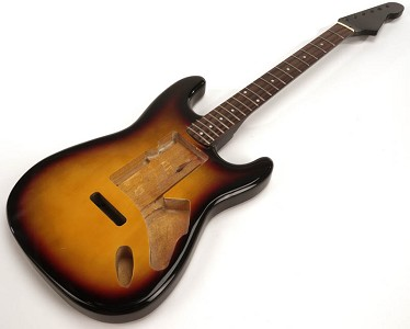 SPECIAL PURCHASE! Sunburst Strat Style GLUED-IN Setneck, Swimming Pool Rout TOP, Rosewood F/B