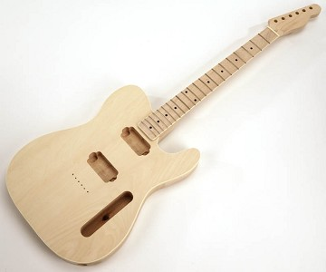 SPECIAL PURCHASE! BOUND Unfinished Tele Style GLUED-IN Setneck, 2 Humbucker Maple F/B