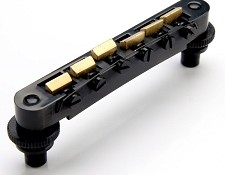 XGP USA Gibson fit Black Tuneomatic Bridge- BRASS Saddles- OUR BEST!