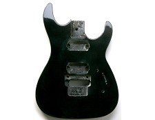 """Dinky"" style HH body cut for Floyd Rose Trem. Solid Poplar Black Metalflake"
