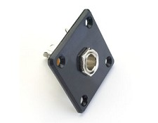 Square Black Les Paul style OUtput Plate with FREE Jack