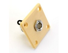 Square Cream Les Paul style OUtput Plate with FREE Jack