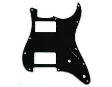 Fat Strat- 2 Humbucker Pickguard 3-Ply Black