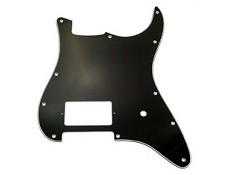 Single Humbucker Strat Pickguard- 3-Ply Black