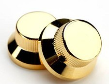 Solid Brass Gold Tophat bell knobs Pair