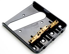 Wilkinson Compensated Telecaster Bridge- Black with Brass Saddles