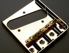 Wilkinson Compensated Telecaster Bridge- Gold with Brass Saddles