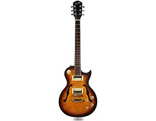 XV-550 Semi Hollow Carved Quilt maple Top Tobacco Sunburst - Blem