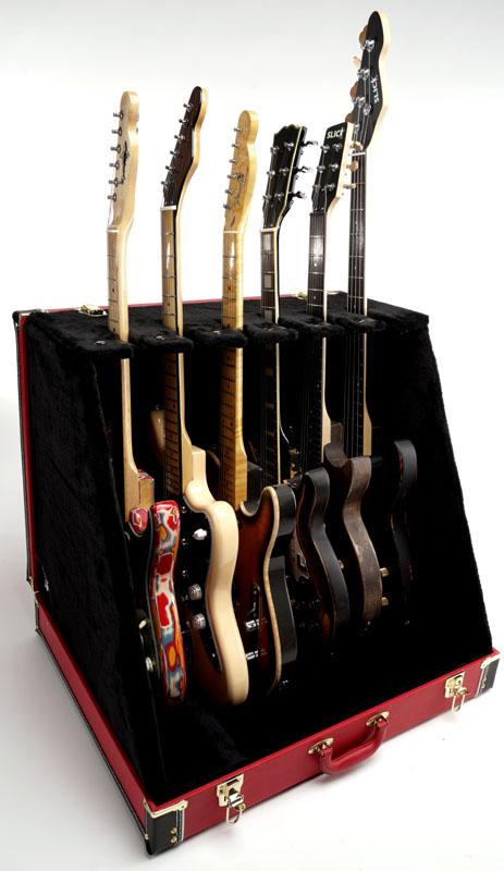 Premium Quot Red Levant Quot 6 Guitar Case Folds To Briefcase