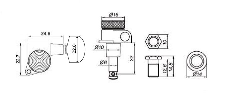 sperzel style locking tuners 3x3 black