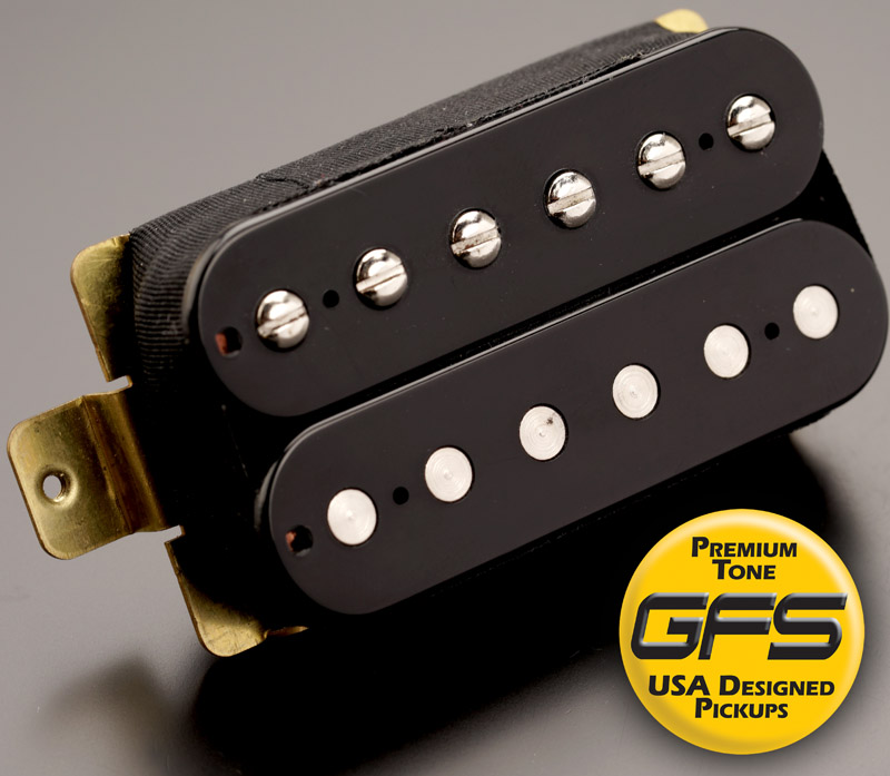 gfs professional series alnico v humbucker black case neck pickup 5wire