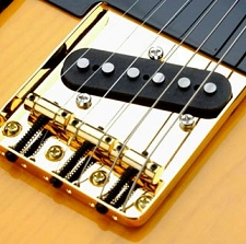 LEFTY Vintage Style 3 Brass Saddle GOLD Bridge - Fits Tele®