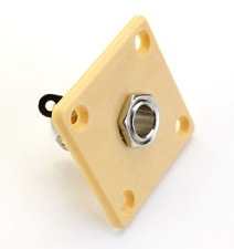 Square Plastic Cream plated Les Paul output jack plate with Jack and FREE Screws!
