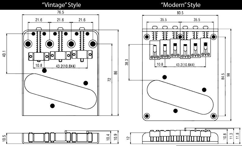 Vintage Style 6 Saddle Tele 174 Bridge