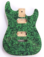 Mother of Pearl Strat Body, Tremolo Rout,  2 Humbucker Green Celluloid, Cream Binding