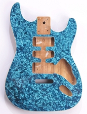 Mother of Pearl Strat® Body, Tremolo Rout,  HSH Blue Celluloid, Cream Binding