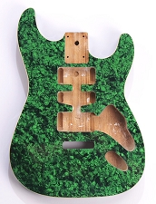 Mother of Pearl Strat Body, Tremolo Rout,  HSH Green Celluloid, Cream Binding