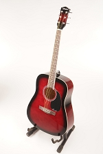 Red Burst Acoustic Dreadnought Style Guitar Rosewood Fretboard 20 Fret