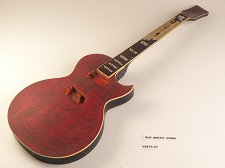 Red Quilt Top Single Bound Single Cutaway Style Guitar 2 Humbucker Rosewood Fretboard 22 Fret