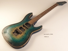 Yellow/Blue Burst Double Cutaway Style Guitar Rosewood Fret Board H/S/H Pickups 24  As Is Guitar