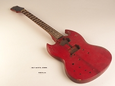 Lefty Red Offset Double Cutaway Style Guitar Rosewood Fret Board 2 Humbucker Pickups 22  As Is Guitar