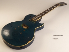 Blue Flame Top Single Bound Single Cutaway Style Guitar Rosewood Fret Board 2 Humbucker 22 Fret As Is Guitar