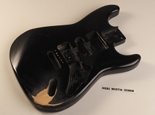 Black Double Cutaway Style Body H/S/H Pickup Routs Vintage Trem Rout