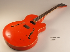 Orange Rockabilly Single Cutaway Double Bound Guitar Rosewood Fret board 22 Fret As Is Guitar