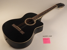 Black Acoustic Medium Jumbo Style Guitar Rosewood Fretboard 19 Fret