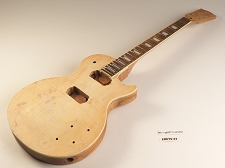 Unfinished Flame Top Single Cutaway Guitar Rosewood Fret board 2HB 22 Fret As Is Guitar - TWISTED NECK