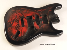 Red Burst Tribal Double Cutaway Style Body H/S/H Vintage Style Trem Rout