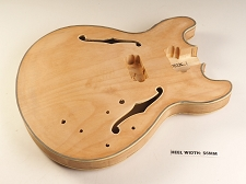 Unfinished Double Bound Double Cutaway Style Semi-Hollow Body 2HB Pickup Routs