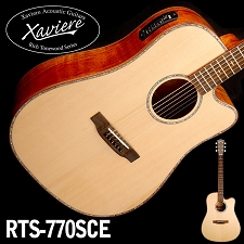 Spalted Maple Dreadnaught Xaviere Alaskan Spruce Top cutaway Acoustic/Electric