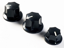 Set of 3 -  Black Jazz Bass Knobs