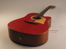 BLEM Xaviere ALL WOOD Red Acoustic/Electric Cutaway Raised Grain Dreadnaught