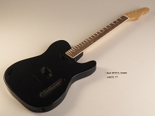 BLEM - Black Double-Cutaway GLUED-IN Setneck, Crossover Head Stock, Traditional Single Coil Rosewood F/B