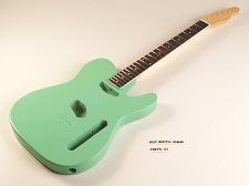 BLEM - SPECIAL PURCHASE! Surf Green Double-Cutaway GLUED-IN Setneck, Traditional Single Coil Rosewood F/B
