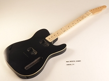 BLEM - BOUND Black Double-Cutaway GLUED-IN Setneck, 2 Humbucker Maple F/B